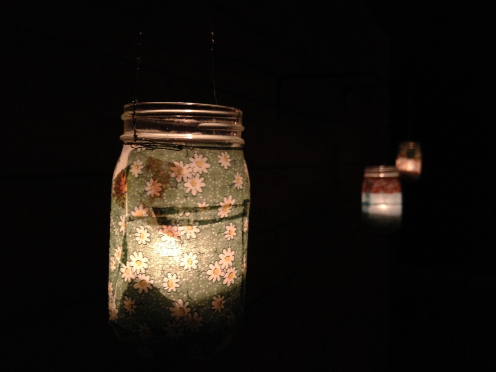 summer lanterns lit up